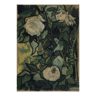 Roses and Beetle by Vincent van Gogh, Vintage Art Poster