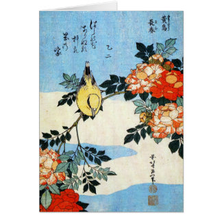 Roses and Bird, Hokusai Card