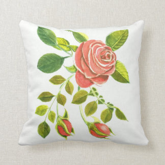 Roses and Buds Floral by DelynnAddams Throw Pillow