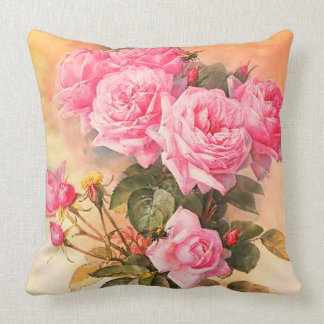Roses and Bumblebees by Paul de Longpre Throw Pillow