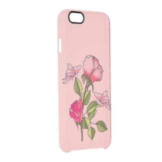 roses and butterflies clear iPhone 6/6S case
