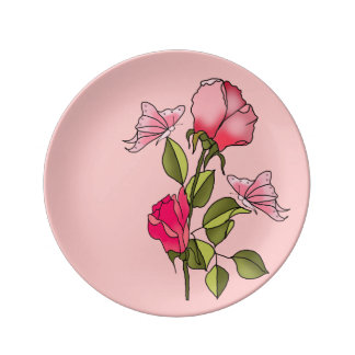 roses and butterflies plate