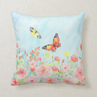 roses and butterflies watercolor pillow cushions
