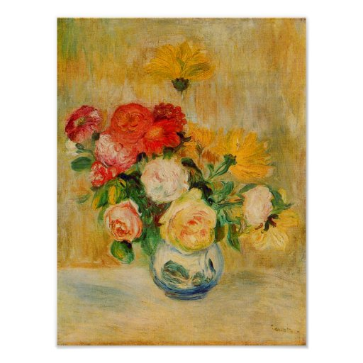 Roses and Dahlias by Renoir Poster