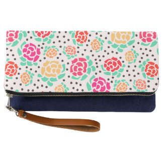 Roses and Dots - Foldover Clutch