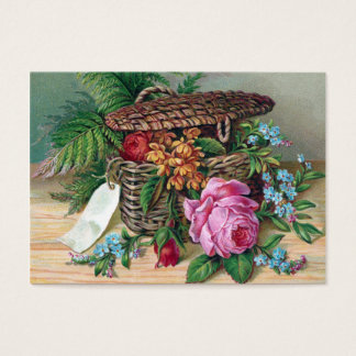 Roses and Ferns in Basket Vintage Victorian Business Card