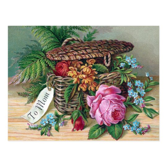 Roses and Ferns in Basket Vintage Victorian Postcard