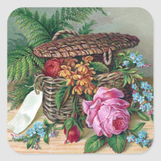 Roses and Ferns in Basket Vintage Victorian Square Sticker