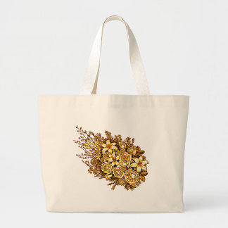 Roses and Hibiscus Large Tote Bag