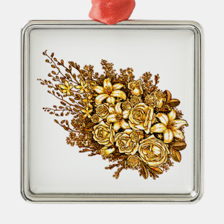 Roses and Hibiscus Metal Ornament