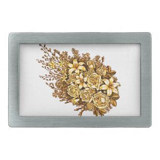 Roses and Hibiscus Rectangular Belt Buckle