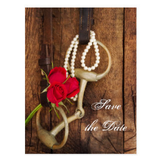 Roses and Horse Bit Country Wedding Save the Date Postcard