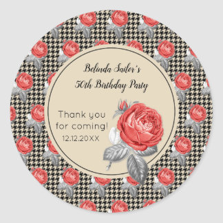 Roses and houndstooth design Birthday Party Classic Round Sticker