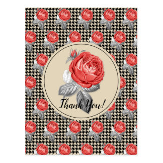 Roses and houndstooth design Thank You Postcard