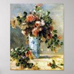 Roses and Jasmine in a Delft Vase Renoir Fine Art Poster