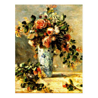 Roses and Jasmine in a Delft Vase, Renoir painting Postcard