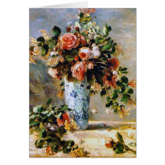 Roses and Jasmine in a Delft Vase Thank You Card