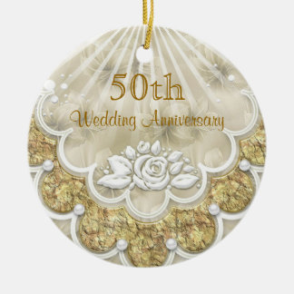 Roses and laces 50th Wedding Anniversary ornament