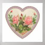 Roses And Lavender Vintage Valentine Heart Poster