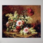 Roses and Mahogany by Paul de Longpre Fine Art Pri Print