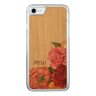 Roses and Monogram Carved iPhone 7 Case