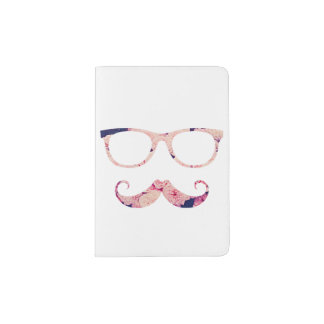 Roses and mustache passport holder