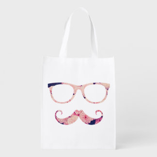Roses and mustache reusable grocery bag