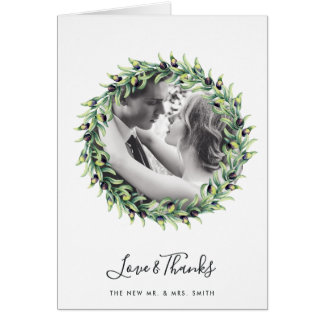 Roses and Olives Wedding Photo Thank You Card
