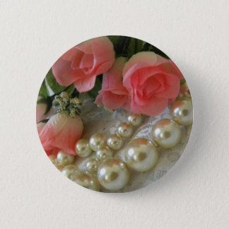 Roses and Pearls 2 Inch Round Button