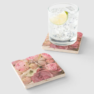 Roses And Peonies Stone Coaster