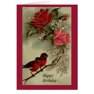 Roses and Robins Happy Birthday Greeting Card