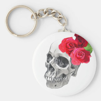 Roses and Skull Basic Round Button Keychain
