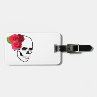 Roses and Skull Luggage Tag