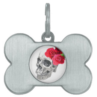 Roses and Skull Pet ID Tag