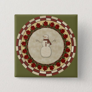 Roses and Snowmen 2 Inch Square Button