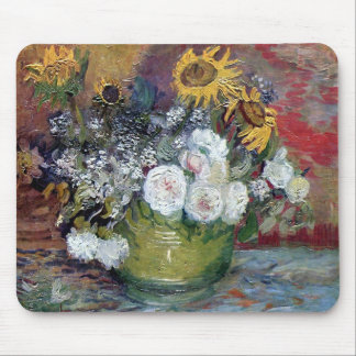 Roses and Sunflowers by Van Gogh Mouse Pad