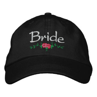 Roses and Vines Embroidered Bridal Wedding Cap Baseball Cap