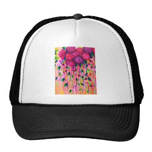 ROSES ARE RAD 2- Bold Pink Red Roses Floral Bouque Mesh Hats
