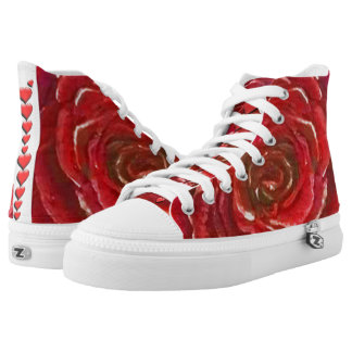 Roses are Red and So are Hearts- Zipz High Tops