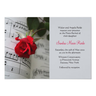 Roses Are Red Piano Recital Invitation