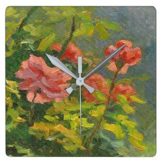 Roses at Sunset Square Wall Clock