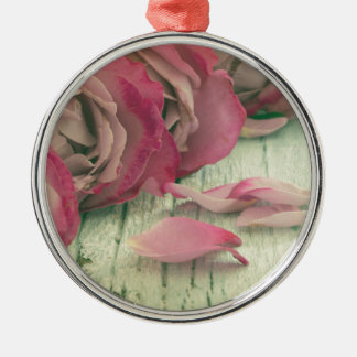roses background Silver-Colored round ornament