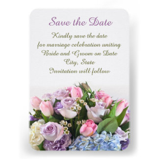 Roses Beauty Bouquet Save the date Custom Announcement