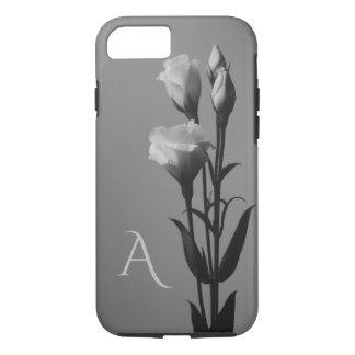 Roses Black and White Elegant Monogram iPhone Case