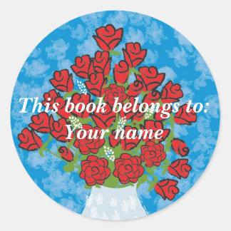 Roses Book label Round Sticker