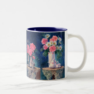 ROSES & CARNATIONS by SHARON SHARPE Two-Tone Coffee Mug