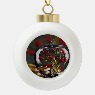 Roses Ceramic Ball Ornament