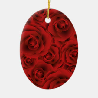 Roses Ceramic Oval Ornament