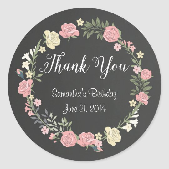 Roses Chalkboard Round Stickers