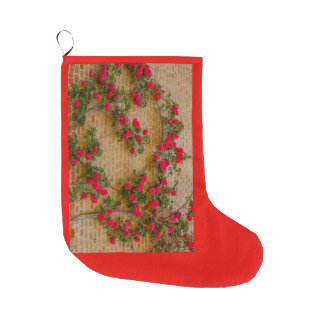 roses climb on a brick wall on Christmas Stocking